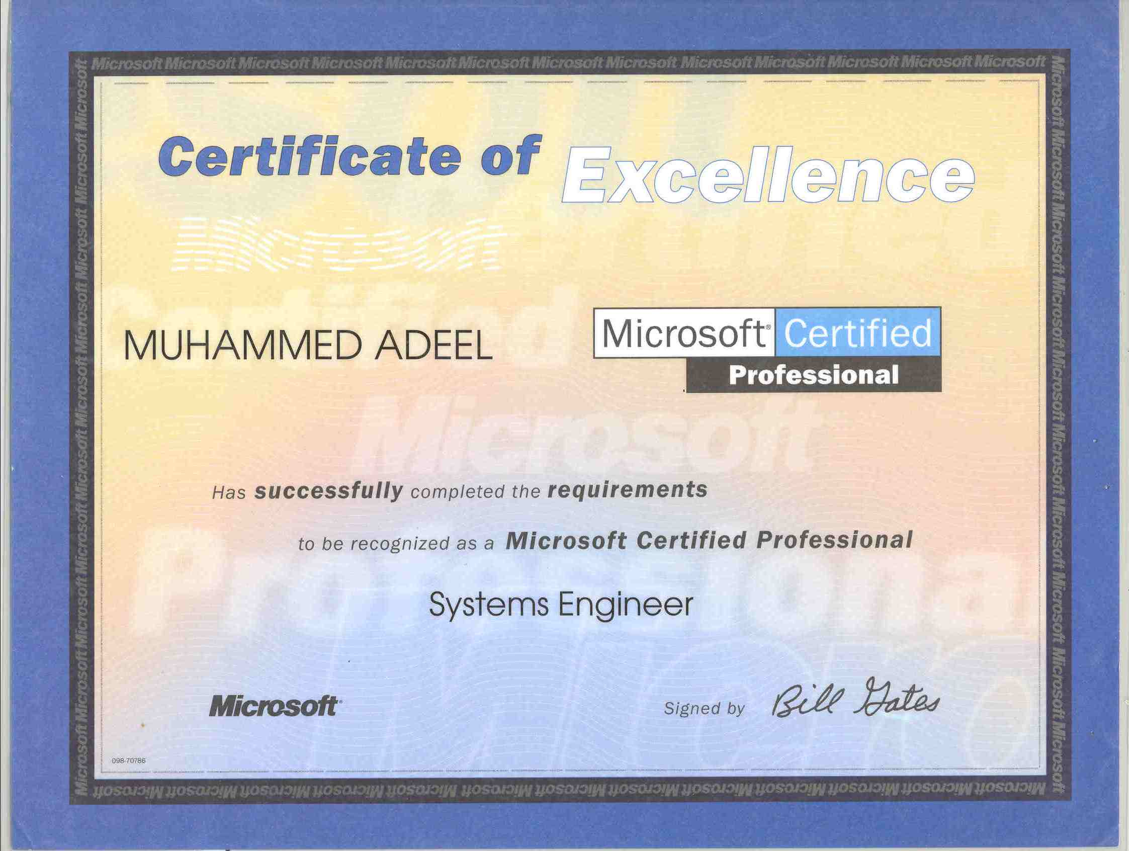 Certifications muhammed adeel microsoft certified systems engineer mcse xflitez Gallery