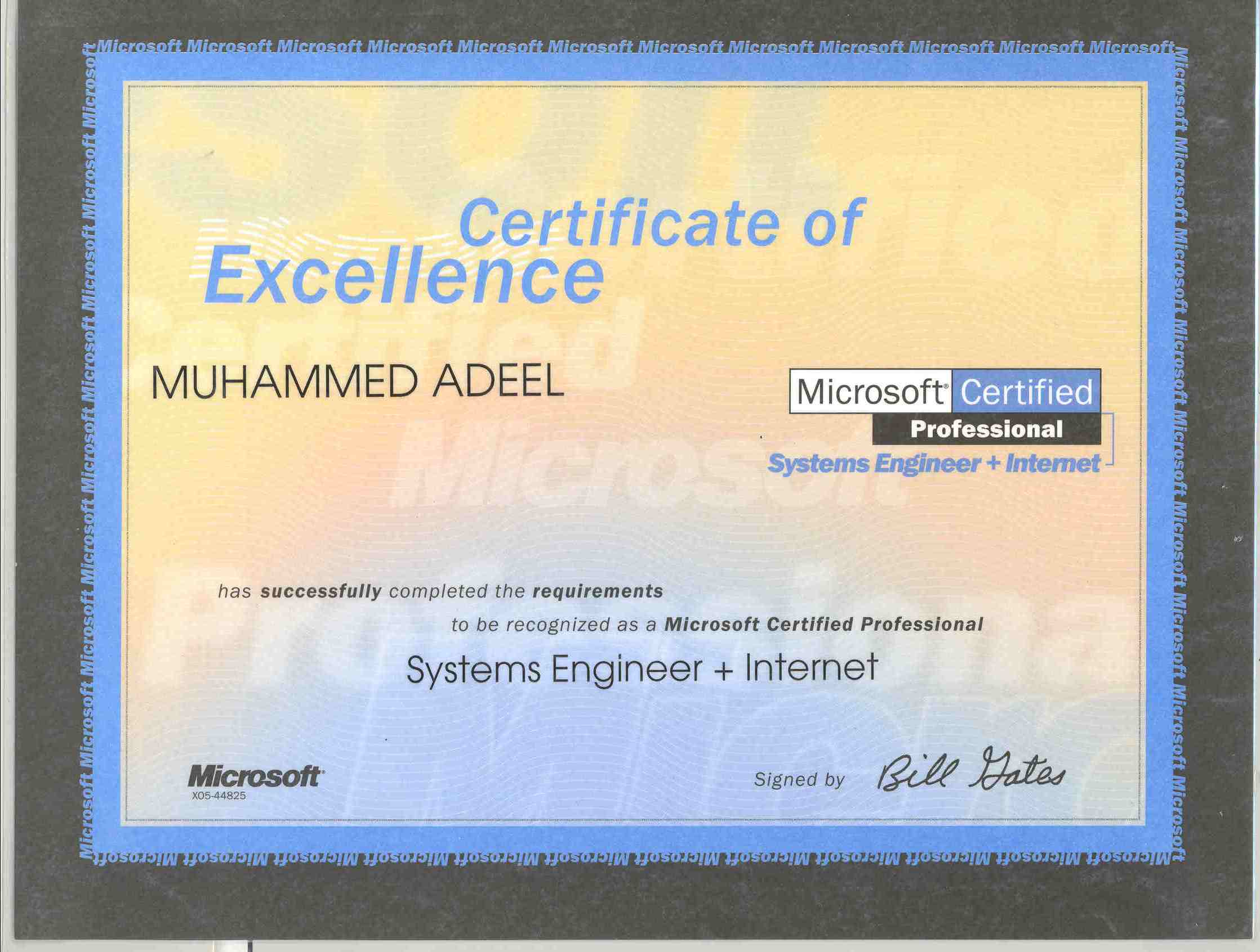 Certifications muhammed adeel microsoft certified systems engineer internet mcsei 1betcityfo Gallery