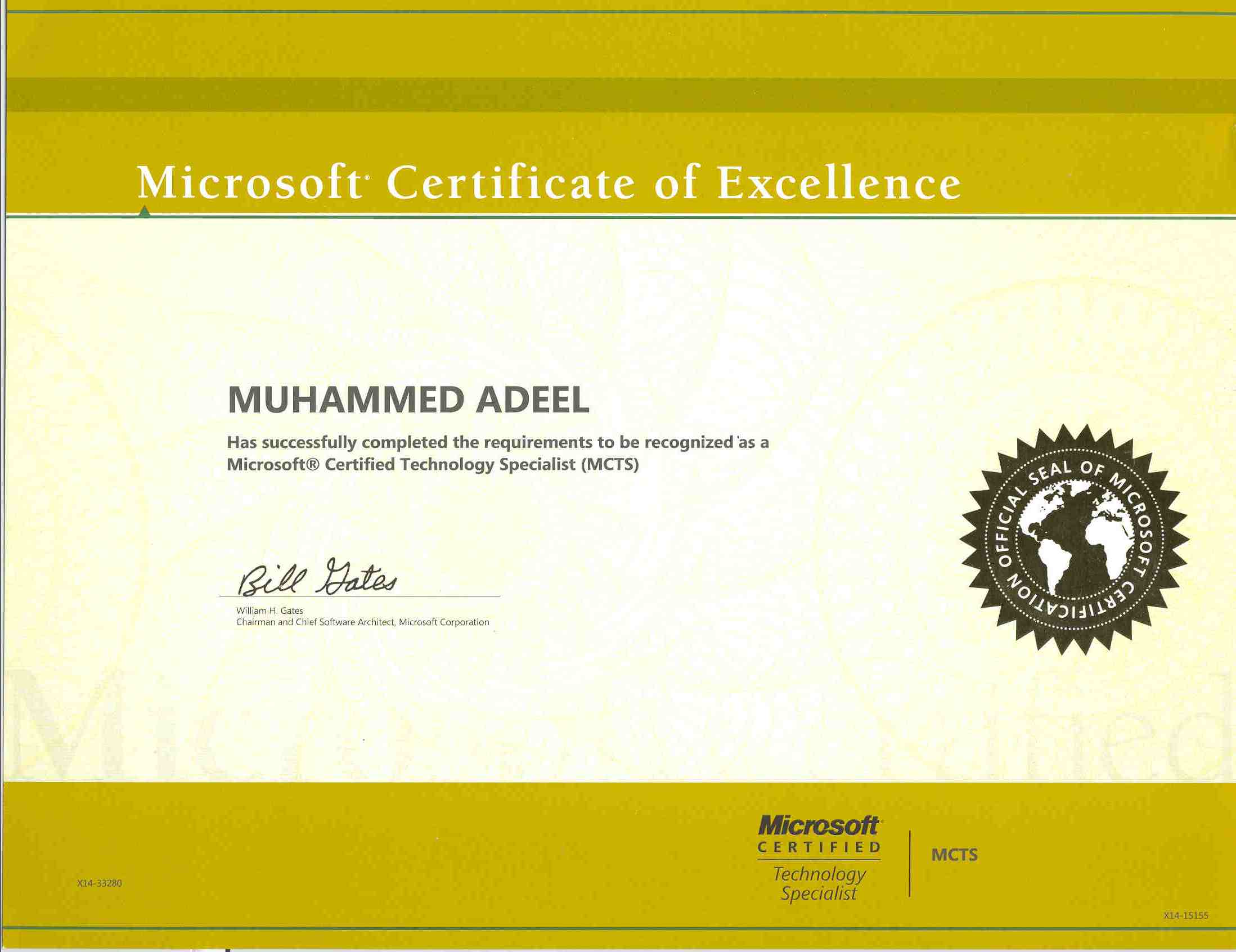 Certifications muhammed adeel microsoft certified technology specialist mcts 1betcityfo Gallery